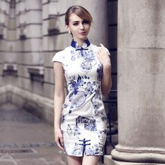 Awesome Blue Print Short Silk Qipao Cheongsam Dress - Qipao - Cheongsam - Women