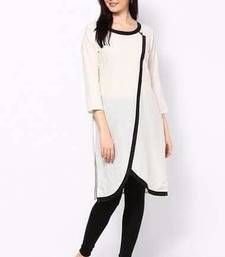 Buy White Cotton plain kurti kurtas-and-kurti online