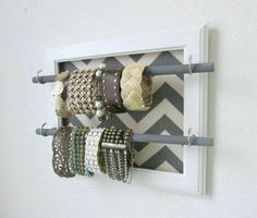 DIY upcycle picture frame with dowels to make a jewelry display