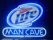 New Miller Lite Real Glass Neon Light Sign Man Cave Home Beer Bar Pub Sign L03