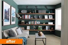 Before & After: A Mini, Multi-Purpose Chill Room With Solid Shelves