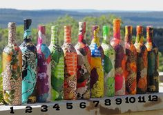 Premade Wine Bottles, Lokta Paper Decoupaged Vases, Colorful Decorative Upcycled Wine Bottles