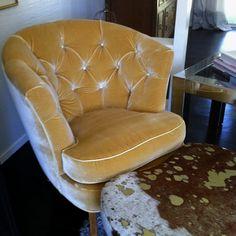 Yellow silk velvet tufted chair