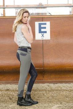 """Pantalone bicolore comfort equitazione donna Equi-thème modello """"Impact"""" per monta inglese, in nylon stretch, traspirante e idrorepellente, ideale per tutte le stagioni."""