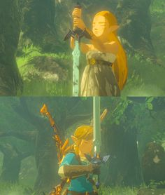 LoZ: BotW Zelda and Link Master Sword // jadynavery The Legend Of Zelda, Legend Of Zelda Breath, Cry Anime, Anime Art, Botw Zelda, Hyrule Warriors, Girls Anime, Link Zelda, Pokemon