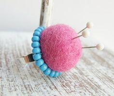 Pink Felt Pincushion Ring by Thimbleful on Etsy, $15.00