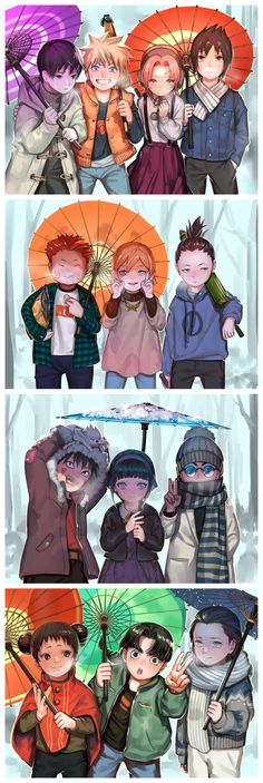 Sai, Naruto, Sakura, Sasuke, Choji, Ino, Shikamaru, Kiba, Hinata, Shino, Tenten, Rock Lee, and Neji #group #snow #kids #snow #winterclothes #peace