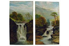 Antique Waterfall Landscapes, 1890s Pair