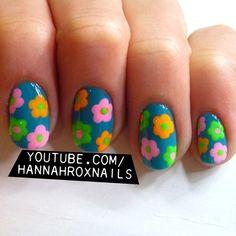 love the colors Fruit Nail Designs, Nail Designs Spring, Nail Art Designs, Hippie Nail Art, Hippie Nails, Nail Manicure, Toe Nails, Nail Polish, Great Nails