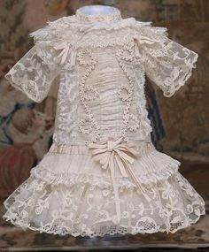 "Antique French Silk Gauze & Lace Dress for Jumeau Bru Steiner Eden Bebe E.J. doll about  18-19"" (46-49 cm)"