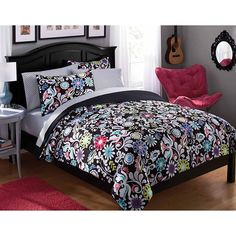 Girls Paradise Flowers Theme Comforter Twin Set High Class Luxury Bedding Elgance Girly Charming Colorful Hippy Flowers Pattern Pretty Summer Flowers