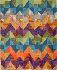 Ziggurat from the Colorific Book by Pam Dinndorf of Aardvark quilts. Ann and Julie used Kaffe's, Derse's and Frond's fabrics (designed by Dinndorf).