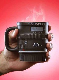 We have introduced a few DSLR camera lens shaped mugs, but if you need a more drinking friendly mug, Into Focus DSLR camera lens coffee mug may be more suitable Camera Lens Mug, Focus Camera, Camera Gear, Leica Camera, Nikon Dslr, Film Camera, Inspektor Gadget, Web Design Blog, Photo Deco