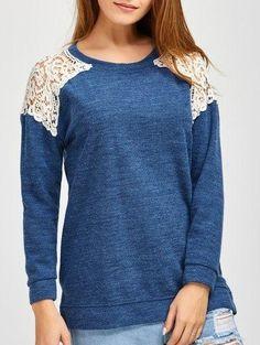 #Zaful - #Zaful Slit Lace Splicing Loose Sweater - AdoreWe.com