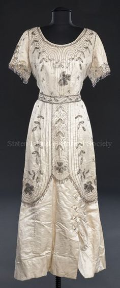 Beaded Wedding Dress, 1900 Worn by Marie Isaacs at her wedding to Reuben Mord via Staten Island Historical Society