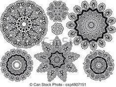 Illustration of Delicate lace pattern, background vector art, clipart and stock vectors. Lace Doilies, Crochet Doilies, Crochet Lace, Doily Patterns, Textures Patterns, Print Patterns, Vector Pattern, Pattern Design, Design Set