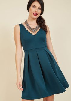 Debut Dinner Party A-Line Dress - Blue, Solid, Daytime Party, Fit & Flare, Sleeveless, Fall, Winter, Woven, Better, Mid-length
