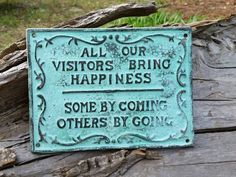 This funny wall hanging is a conversation piece that everyone can relate to. The cast iron sign will look great on any wall and makes a great hostess or housewarming gift! Sign measures 7 1/2 x 5 1/2 and has 2 holes for easy hanging. All of our cast iron decor is hand painted and lightly sanded to reveal the metal beneath. This process provides character which makes each piece unique and one of a kind.    Interested in ordering 5 or more? We offer discounts on bulk orders! Just contact us…