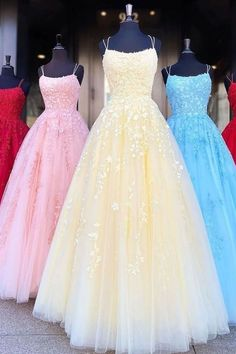 Princess Prom Dresses Buy A Line Tulle Yellow Spaghetti Straps Prom Dresses with Appliques, Party Dresses online.Shop short long ombre prom, homecoming, bridesmaid evening dresses at Couture Candy Cocktail party dresses, formal ball gowns in ombre colors. Straps Prom Dresses, Hoco Dresses, Quinceanera Dresses, Ball Dresses, Cute Dresses, Yellow Prom Dresses, Formal Dresses, School Dance Dresses, Bridesmaid Dresses