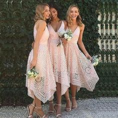 A-Line Asymmetrical V-Neck Pink Lace Bridesmaid Dress