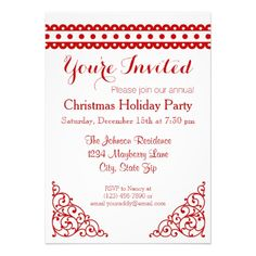 Red White Christmas Holiday Xmas Party Invitations.  Make your own with your own custom wording with this easy to use template.