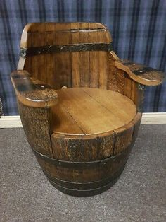 These Beautifully unique oak barrel armchairs are handmade in wales from vintage oak barrels, and are the perfect fireside accompaniment or decorators piece. Wine Barrel Diy, Whiskey Barrel Bar, Wine Barrel Chairs, Whiskey Barrel Furniture, Wine Barrels, Used Whiskey Barrels, Barris, Barrel Projects, Pub Decor