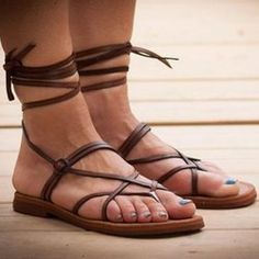 9ac2a6cfa5ac6 Straps Pure Color Lace Up Chunky Flat Heel Thong Women Flat Sandals