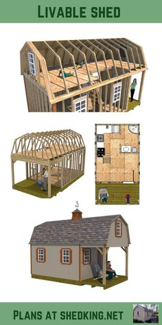 If you're looking for livable shed plans I have just what you need. Build a shed house, tiny house, small cabin, with these tiny house blueprints that Shed To Tiny House, Shed House Plans, Shed Building Plans, Diy Shed Plans, Tiny House Cabin, Tiny House Design, Building A House, 3d Building, Building Ideas