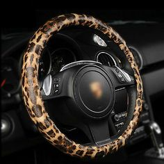 """Leopard Print Leather Steering Wheel Cover 15"""" Size"""