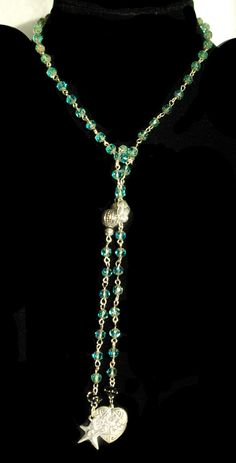 Caribbean Blue Faceted Beaded Lariat Glistens in the Sunlight like droplets of water