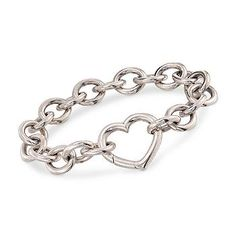"""Ross-Simons - C. 2000 Vintage Tiffany Jewelry Sterling Silver Bracelet With Heart Clasp. 7.5"""" - #788616"""