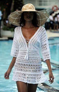 Crochet Beach Dress, Crochet Tunic, Diy Crochet, Crochet Clothes, Crochet Baby, Crochet Top, Crochet Box Stitch, Crochet Stitches For Beginners, Crochet Bikini Pattern