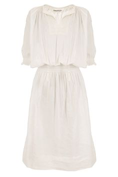 The intricate embroidery on this simple white dress adds a touch of boho spirit that is so well associated with the French brand. Best shown off with leather accessories and the perfect Summer tan.