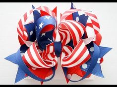 How to make a Patriotic FLAG hair bow (hairbow tutorial)