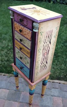 Jewelry Armoire, Tiana's Treasure Hand Painted, Jewelry Storage