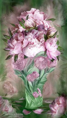 Pink Peonies In Peony Vase By Carol Cavalaris Peony Your blossoms like plump scoops of ice cream in a Spring sundae such a delightful treat so tempting and sweet. Pink Peonies prose by Carol Cavalaris