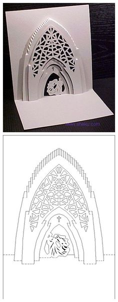 Kirigami pop up church card template Kirigami Templates, Pop Up Card Templates, Origami And Kirigami, Origami Paper, Templates Free, Origami Architecture, Paper Pop, 3d Paper, Pop Up Art