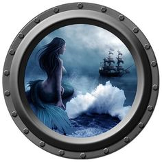 Mermaid Porthole Wall Decal  She Waits by WilsonGraphics on Etsy, $13.00..love