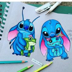 Stitch, Frog, and Scrump. Lilo and Stitch Disney art. Stitch, Frog, and Scrump. Lilo and Stitch Disney art Scrump Lilo And Stitch, Lelo And Stitch, Cute Disney Drawings, Cute Drawings, Kawaii Drawings, Disney Kunst, Disney Art, Disney Tattoos, Desenhos Old School