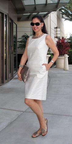 Mercer & Madison Metallic Linen Shift Dress; Elliott Lucca Metallic Woven Leather Clutch; Sterling Silver Marcasite Jewelry; Cole-Haan Metallic Leather Sandals; Raymond Weil Watch.  Simple & elegant outfit for a Sunday brunch!  http://www.akeytothearmoire.com/post/25568428088/fathers-day
