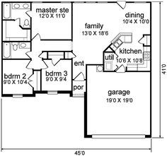 First Floor Plan of Traditional   House Plan 89966