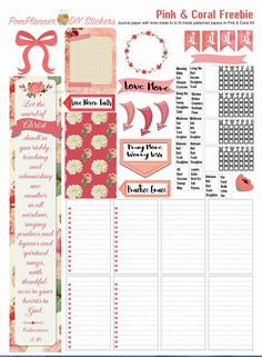 The matching FREEBIES with journal boxes and a Bible verse margin strip is at the bottom of this page.Fits Bible & Happy Planner too!Printable Planner Kit in Pink & Coral February Victorian… To Do Planner, Free Planner, Happy Planner, Planner Ideas, College Problems, Printable Planner Stickers, Free Printables, Planners, Planner Decorating