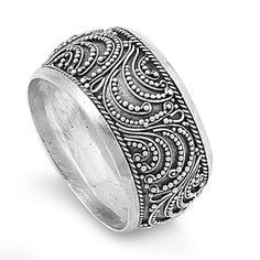 Oxidized Lotus Flower Filigree Vintage Ring .925 Sterling Silver Band Sizes 3-10