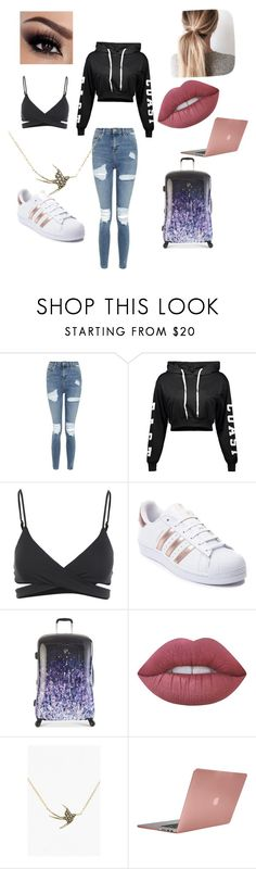 """""""Plane Rides"""" by claudiapcameron ❤ liked on Polyvore featuring Topshop, L*Space, adidas, Heys, Lime Crime, Judith Jack and Incase"""