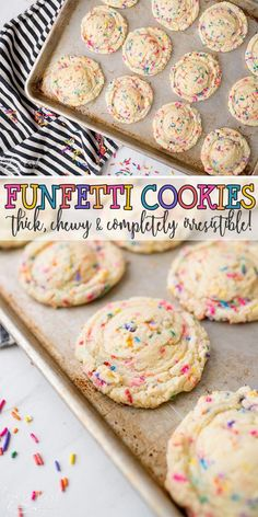 Funfetti Cookies have that classic cake batter, Funfetti flavor that everyone l. Funfetti Cookies have that classic cake batter, Funfetti flavor that everyone loves! This recipe use the cake m Funfetti Kuchen, Funfetti Cookies, Cake Batter Cookies, Oreo Cookies, Sandwich Cookies, Cookies With Cake Mix, Confetti Cake Cookies, Health Desserts, Food Cakes