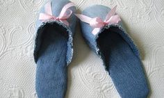 Denim slippers - How to make slippers from jeans.
