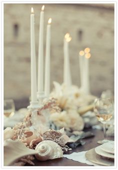 glamorous shell tablescape