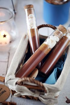 Test tubes! An ingenius way to make single serving cocoa hot chocolate gifts! Or as a party favor!