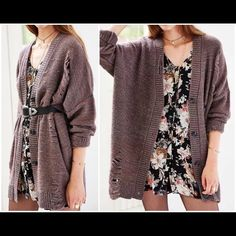 """UO Pins & Needles Destructed Grunge Cardigan Sz S Plum-grey (very!) oversized destructed """"grunge"""" cardigan by Pins & Needles. From Urban Outfitters. Size S.  All distress on garment is intentional & created by mfctr.  EUC! Only worn ONCE! *Nature of fabric tends to get """"fuzzy"""" very quickly.  PLS VIEW PHOTOS/ASK QUESTIONS BEFORE SUBMITTING OFFER OR BUYING!  Item comes from smoke-free, pet-friendly home! Pls note that although I do my best to lint-roll/remove all extra fibers, the occasional p"""