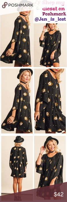 BOGO 50% OFF Floral Print Dress Floral Print Dress with Bell Sleeves  Fabric: COTTON BLEND Dresses